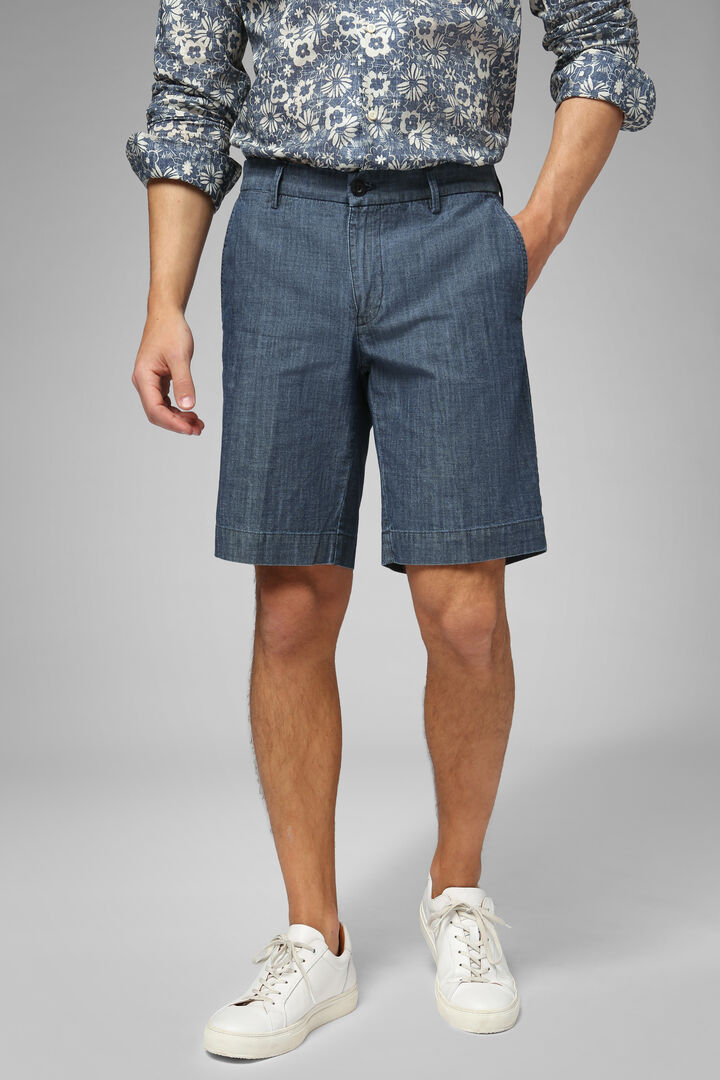 Cotton Denim Bermuda Shorts, Denim, hi-res