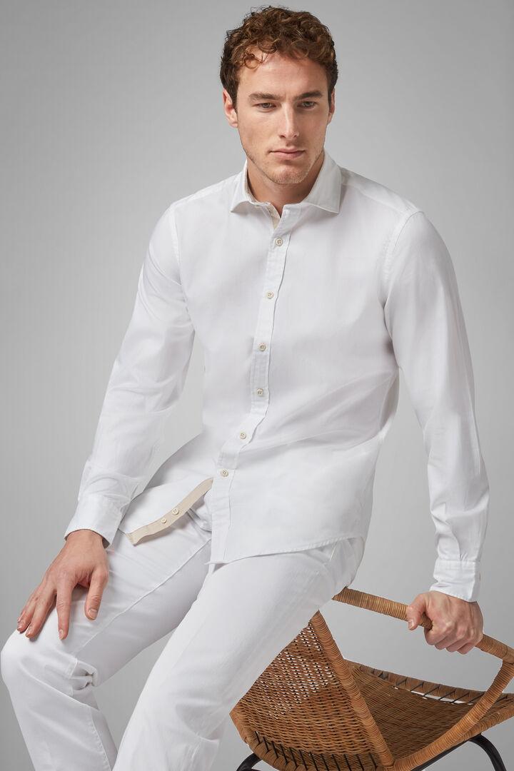 Camisa Regular Fit Blanca Con Cuello Cerrado, Blanco, hi-res