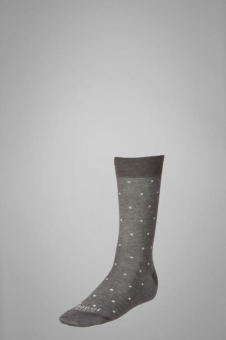 Kurze Strümpfe Mit Punkte-Muster, Grau weiß, hi-res