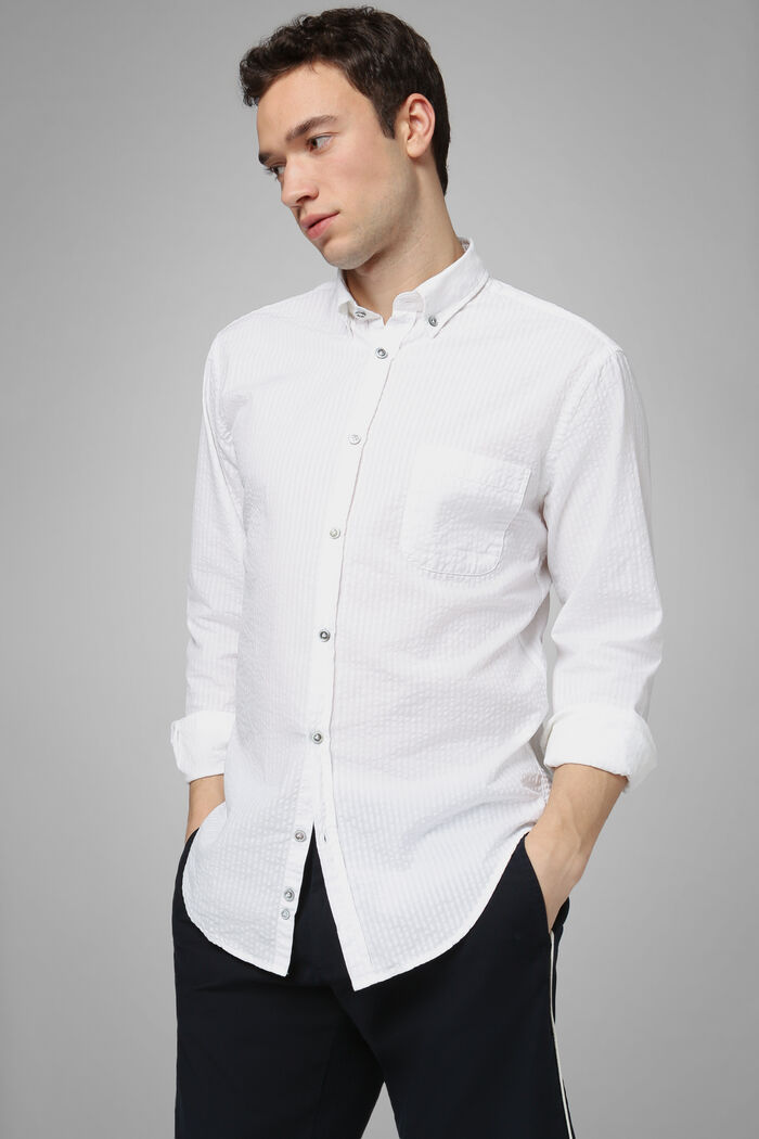 Regular Fit White Shirt With Button Down Collar, , hi-res