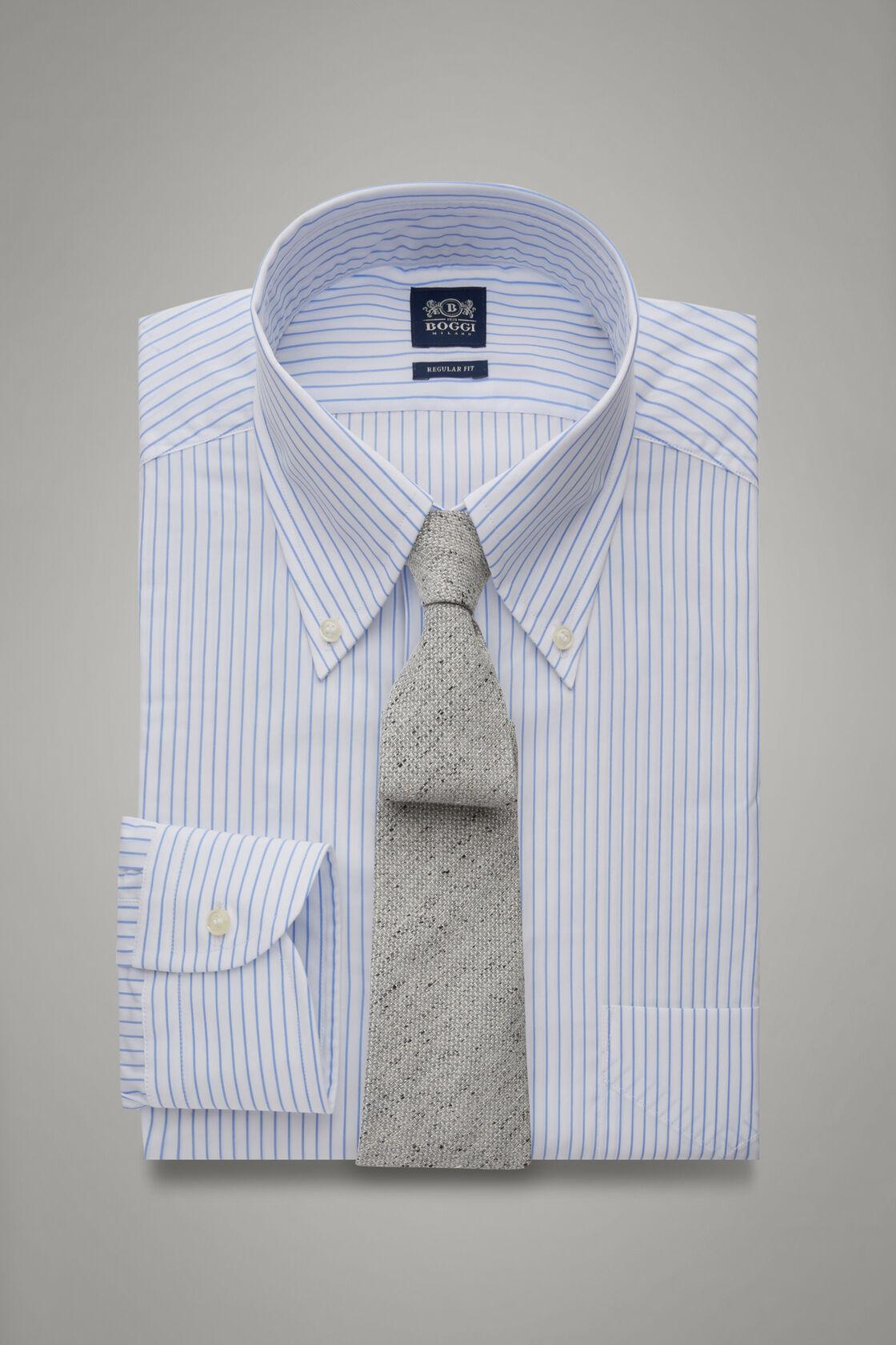 Hemd Mit Azurblauen Streifen Und Boston-Kragen Regular Fit, , hi-res