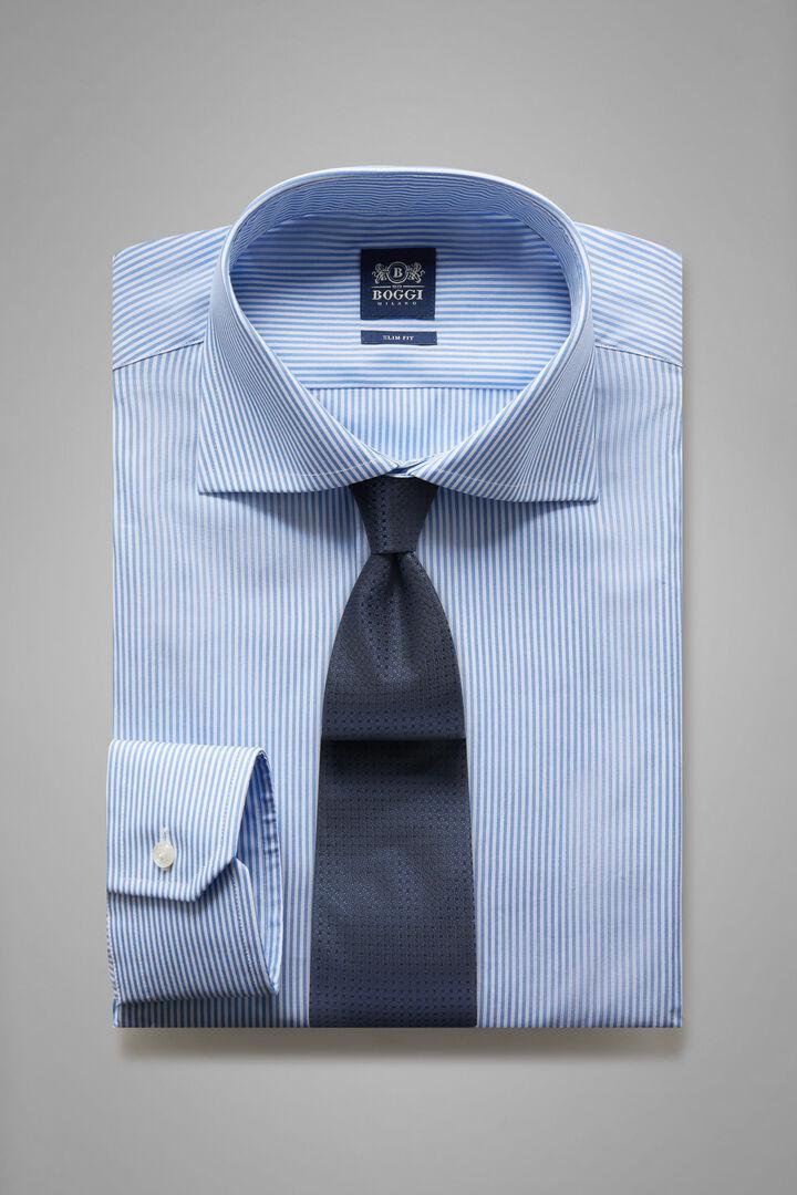 Slim Fit Sky Blue Striped Shirt With Windsor Collar, Light blue, hi-res