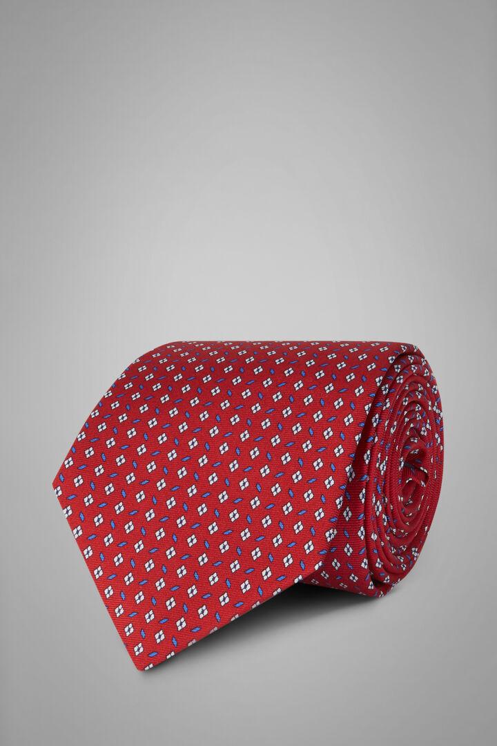 Printed Silk Tie, Red, hi-res