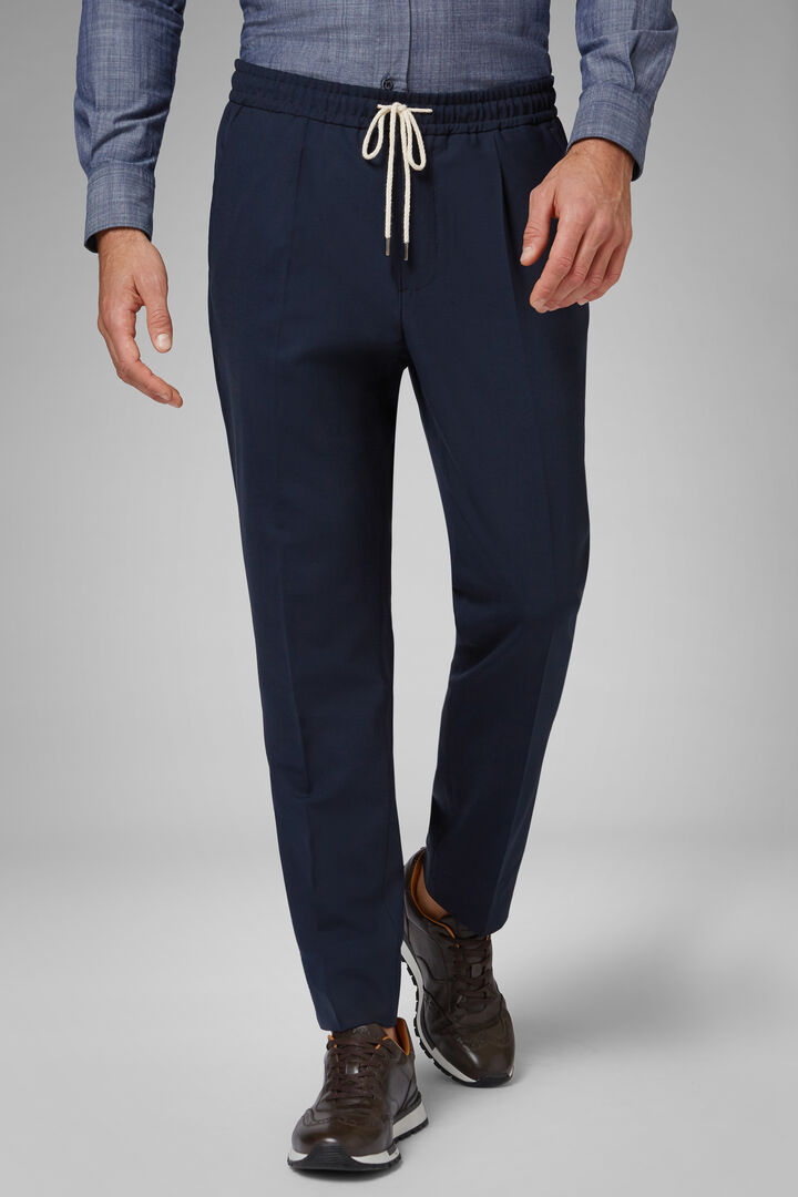 Regular Fit Machine Washable Wool Trousers With Drawstring, Blue, hi-res