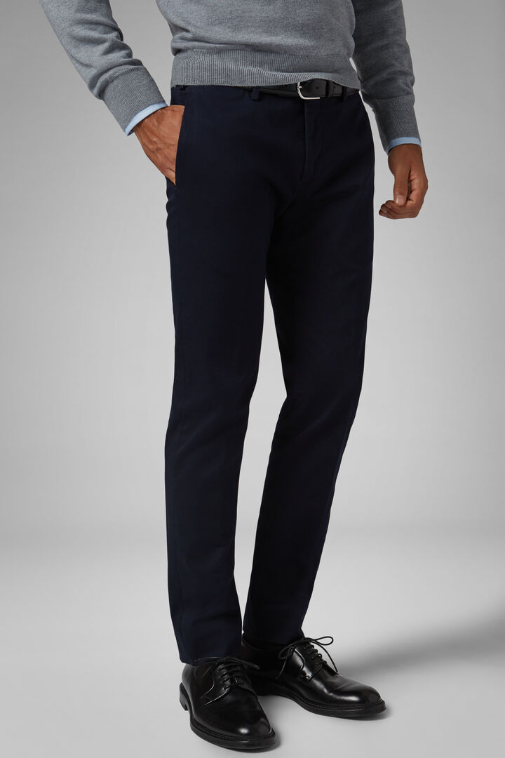 Slim Fit Stretch Cotton Gabardine Trousers, Blue, hi-res