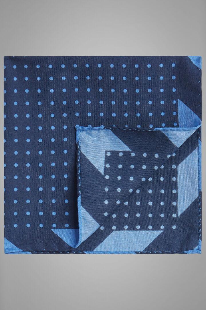 Pochette À Pois En Soie Imprimée, Bleu - bleu clair, hi-res