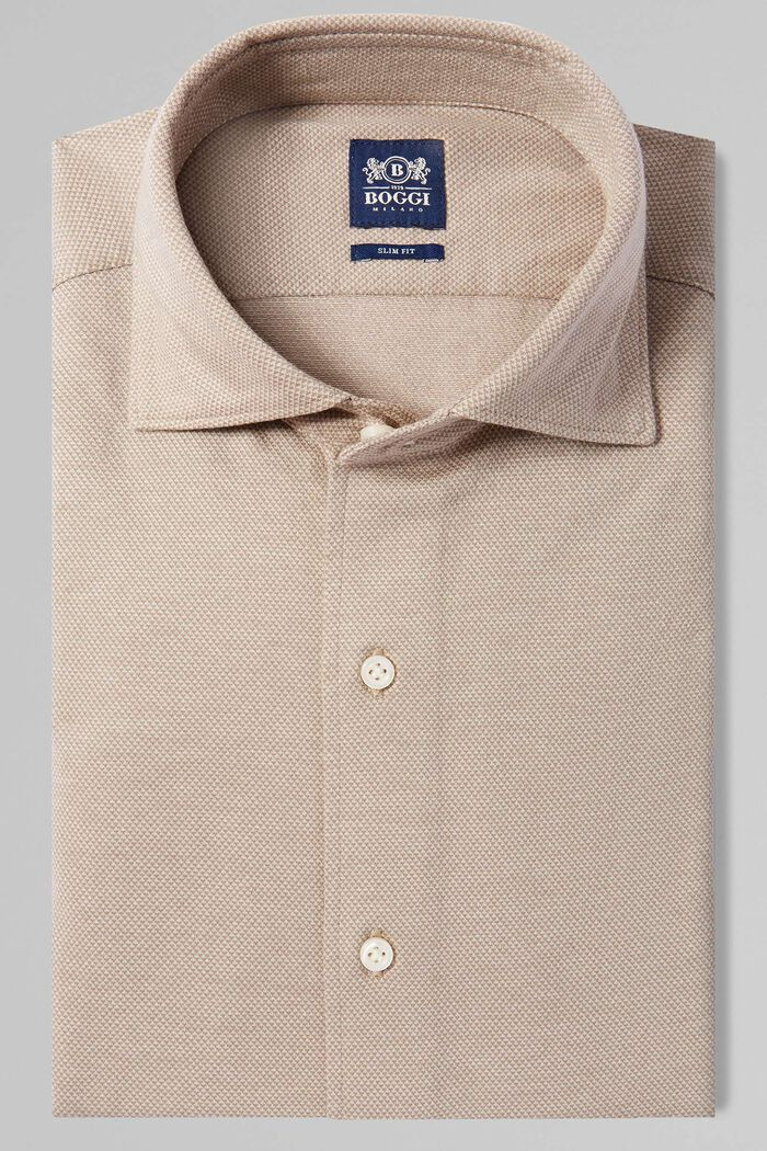 BEIGE CASUAL SHIRT WITH CLOSED COLLAR, , hi-res