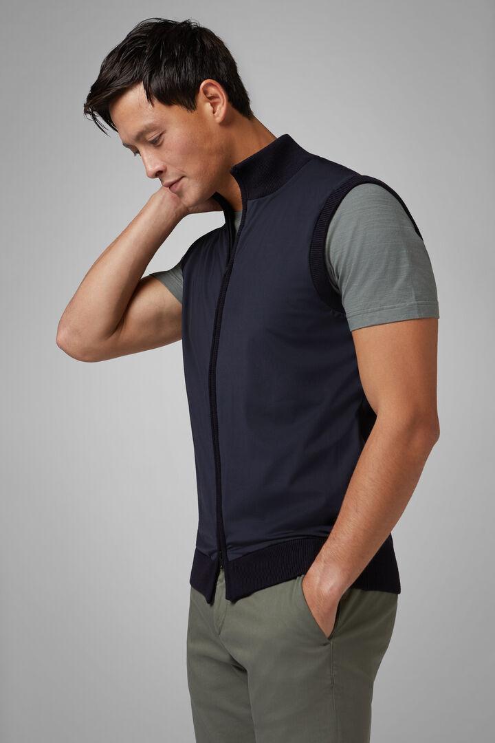 Full Zip Sweater Aus Merinowolle Und Technischem Jersey, Navy blau, hi-res