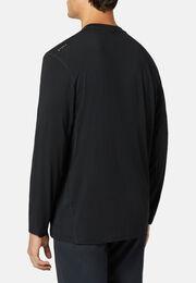 T-shirt in modal carbon elasticizzato manica lunga, Nero, hi-res