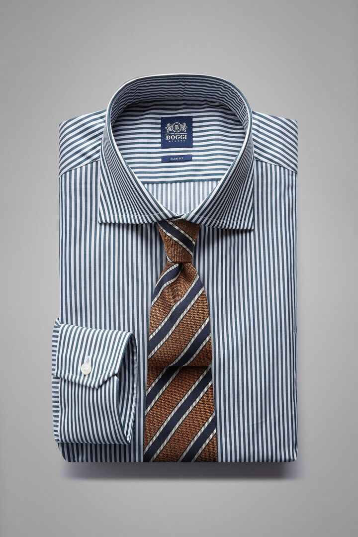 Slim Fit Green Striped Shirt With Windsor Collar, White - Green, hi-res