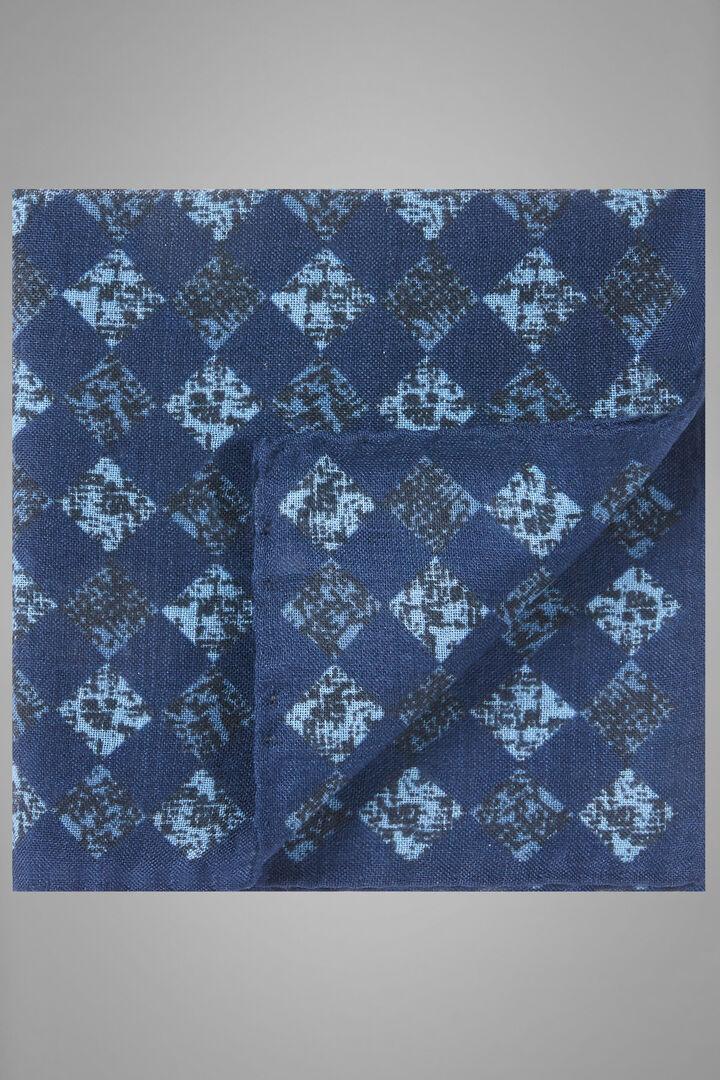 Pañuelo De Bolsillo De Lana Y Seda Con Estampado, Azul - azul claro, hi-res
