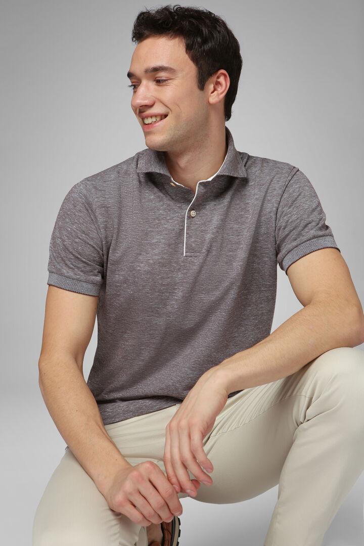 Dark Brown Slub Cotton/Linen Piqué Polo Shirt, Dark brown, hi-res