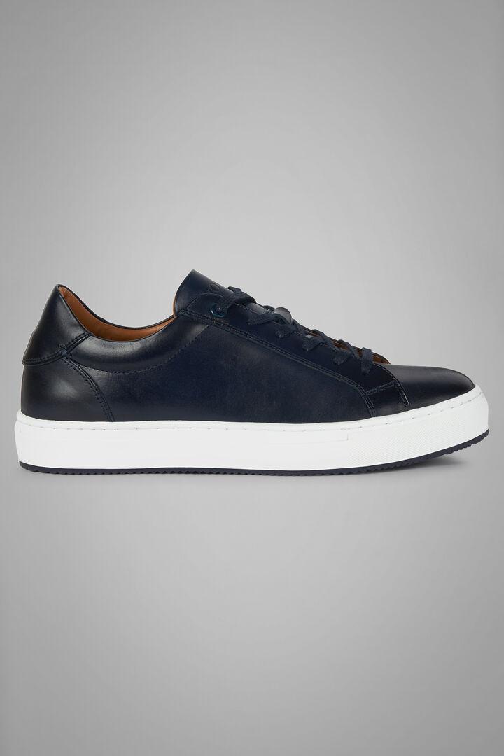 Sneakers De Piel Lisa, azul marino, hi-res