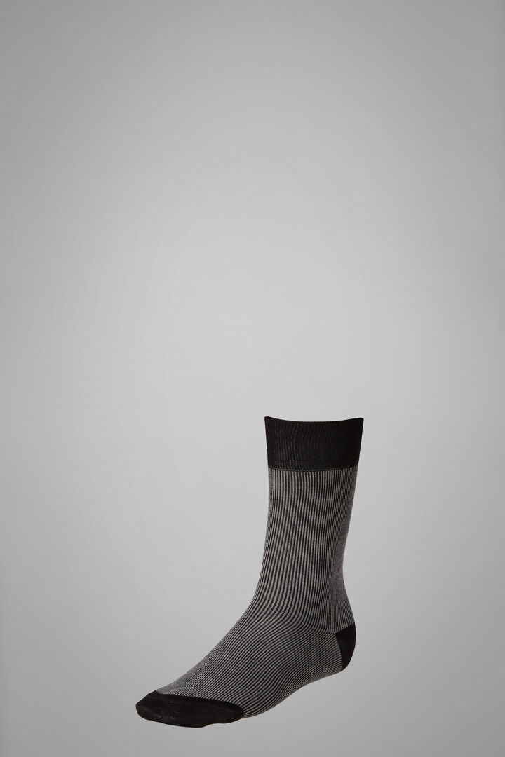 Short Socks With Narrow Striped Motif, Black - Grey, hi-res