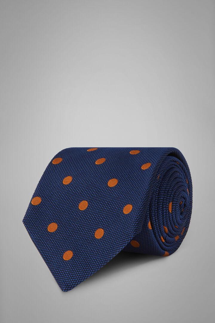 Cravatta Pois In Seta Cotone Jacquard, Blu - Arancione, hi-res