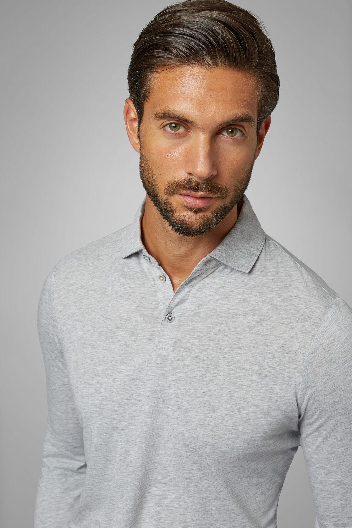Grey Cotton/Tencel Jersey Polo Shirt, Grey, hi-res