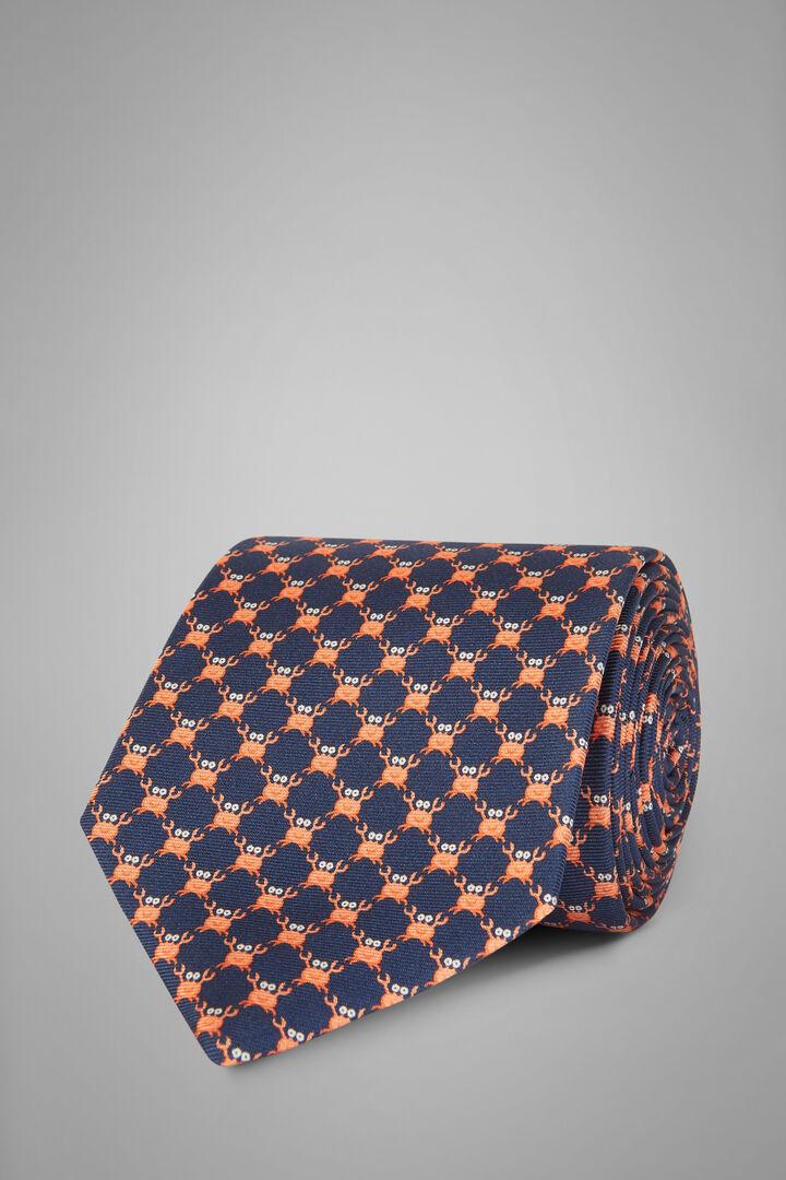 Cravatta Granchio In Seta Stampata, Blu - Arancione, hi-res