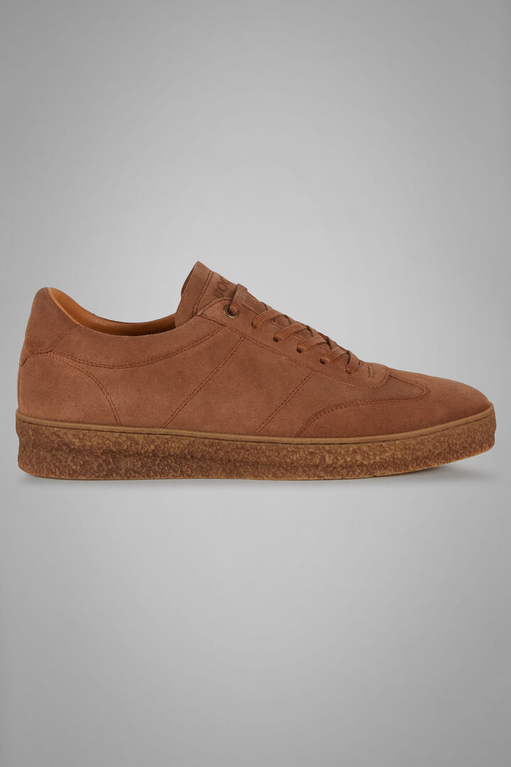 Suede Trainers With Textured Soles, Leather brown, hi-res