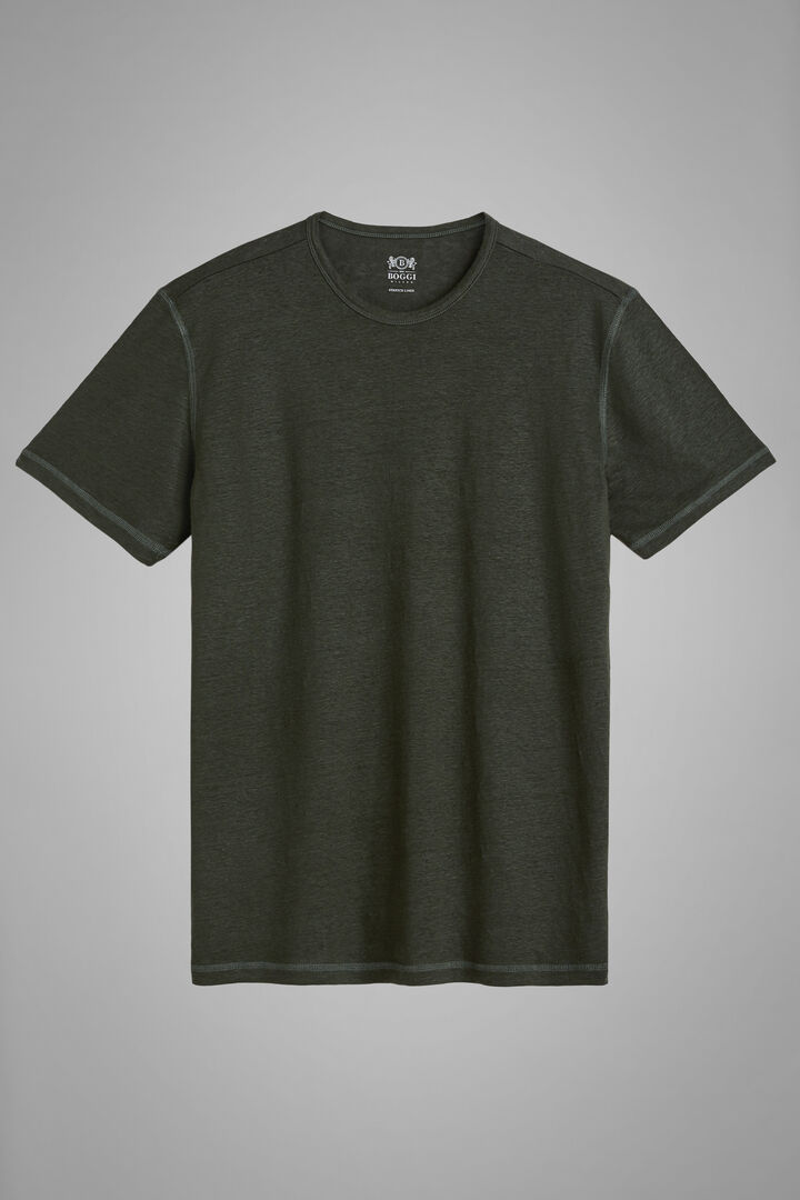 Military Green Stretch Linen Jersey T-Shirt, Military Green, hi-res