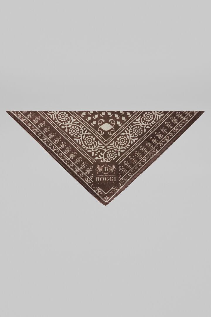 Mixed Paisley Print Wool And Yak Bandana, Dark brown, hi-res
