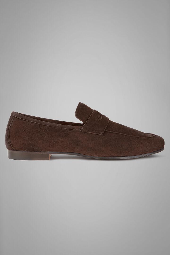 Breathable Suede Loafers, Dark brown, hi-res