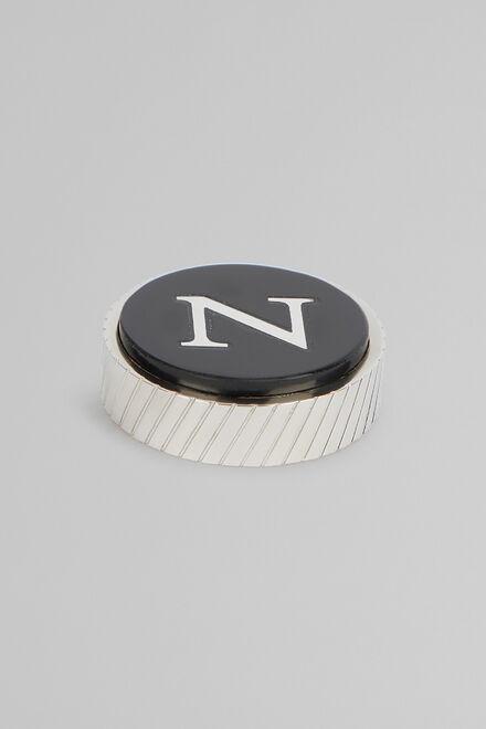 Gemello In Metallo Lettera N, Nero, hi-res