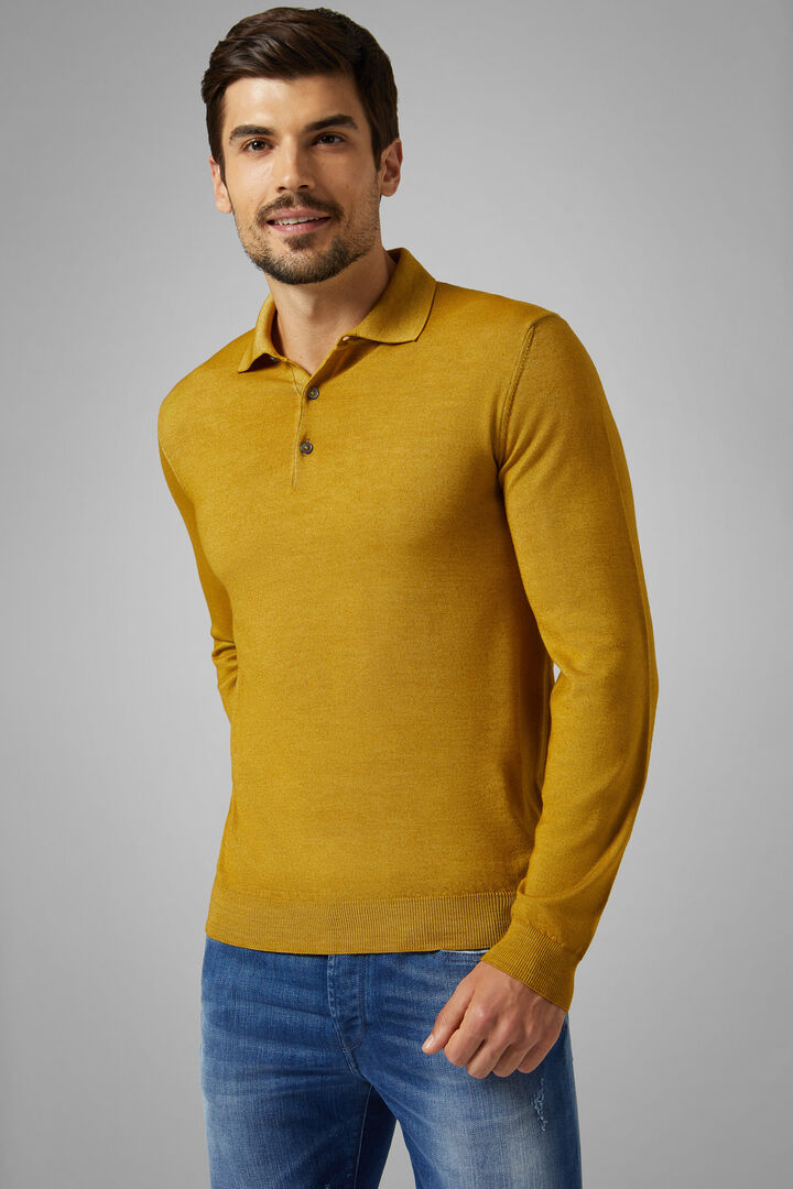 Stonewashed Knitted Merino Wool Polo Shirt, Ochre, hi-res
