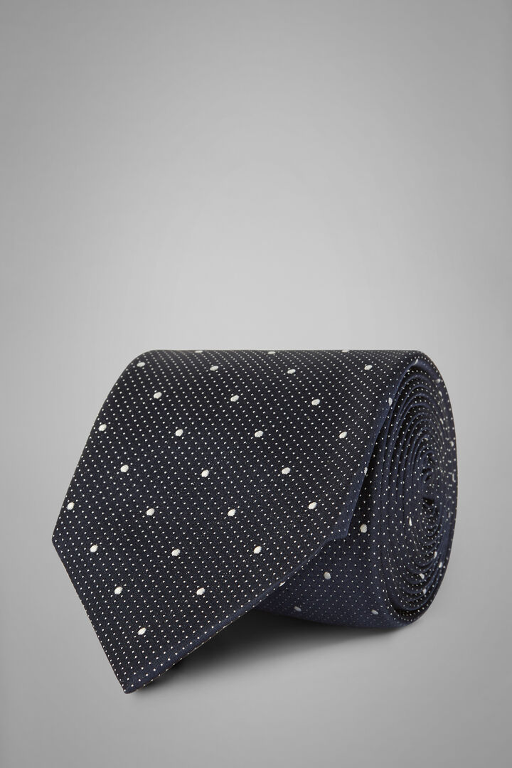 Gepunktete Krawatte Aus Seidenjacquard, Blau, hi-res