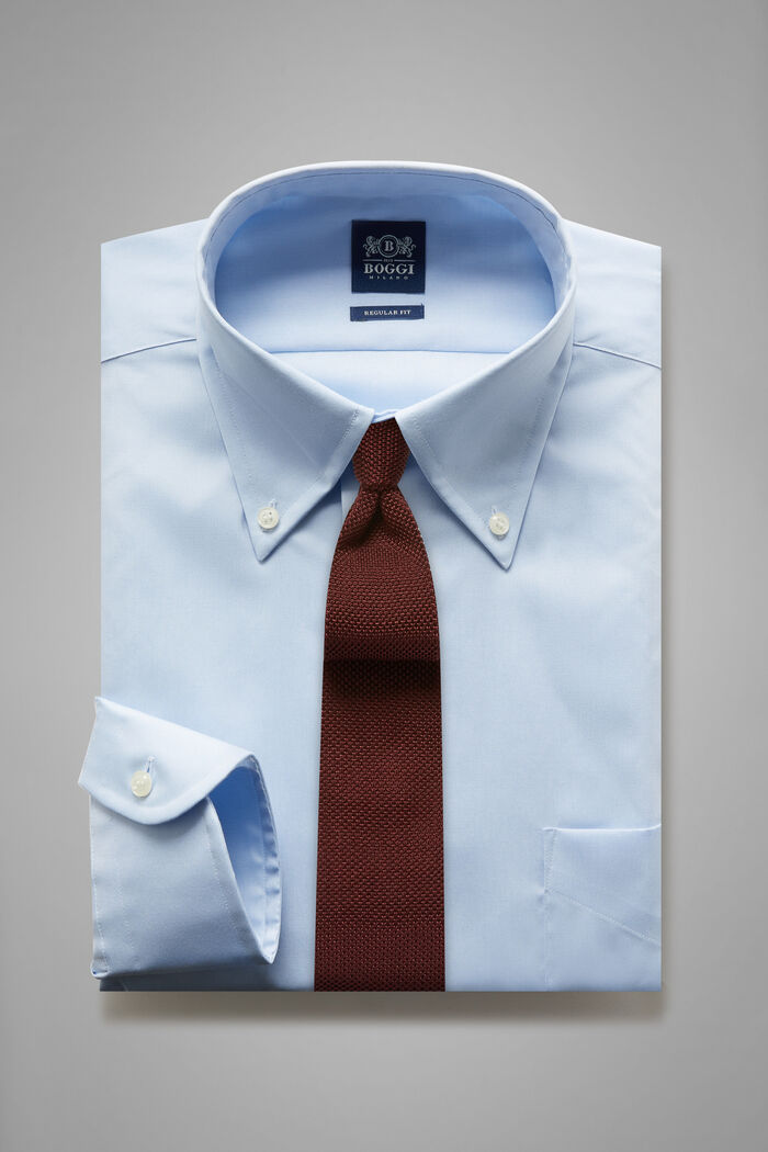 Regular Fit Sky Blue Shirt With Boston Collar, , hi-res