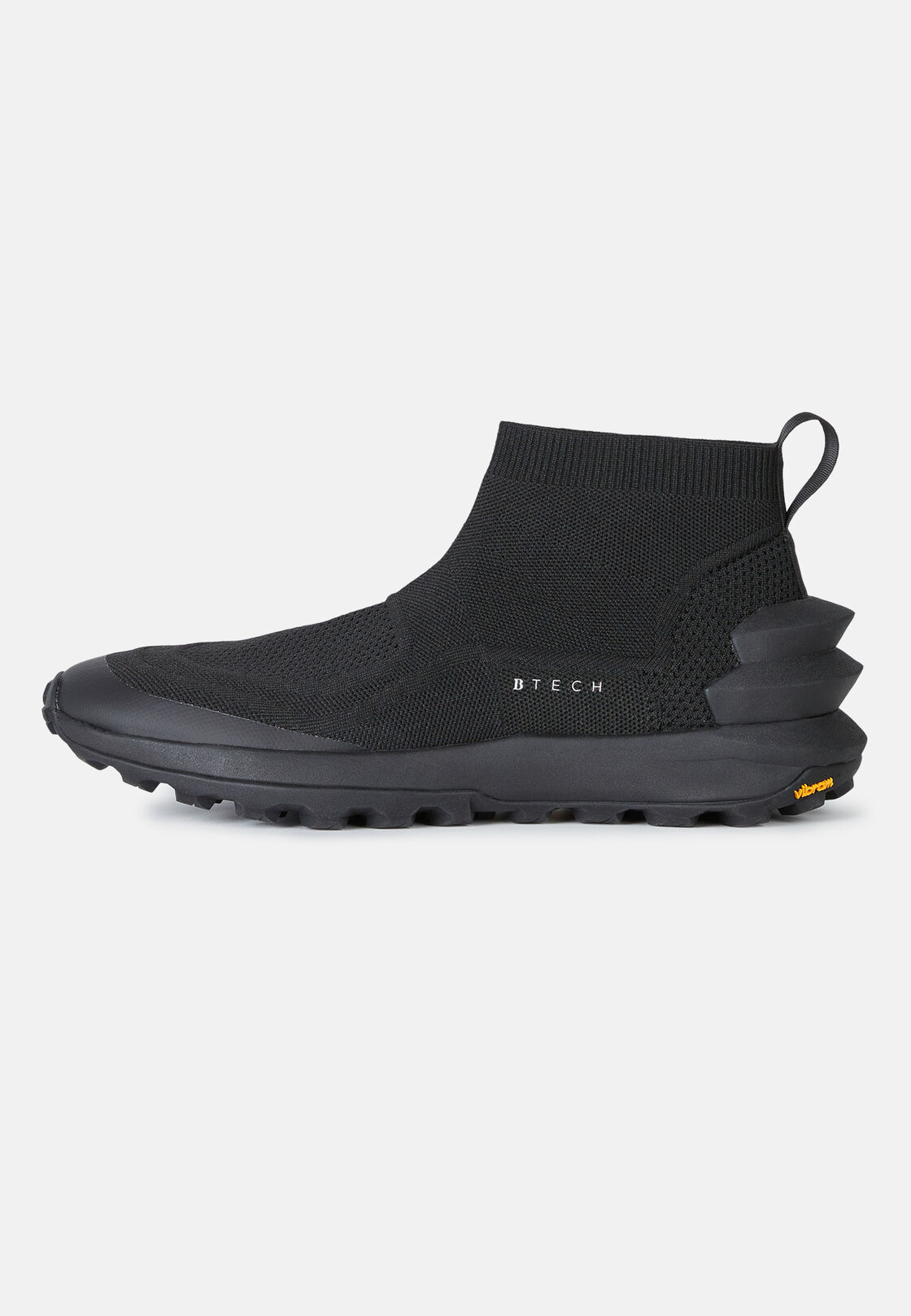 Black sustainable fabric high-top sock trainers, Black, hi-res