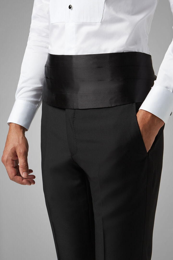 Pure Silk Cummerbund, Black, hi-res