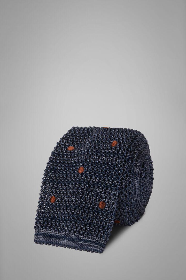 Polka Dot Silk Knitted Tie, Blue - Dark brown, hi-res