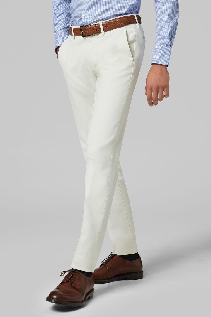 Pantalon En Tricotine De Coton Stretch Coupe Ajustée, Crème, hi-res