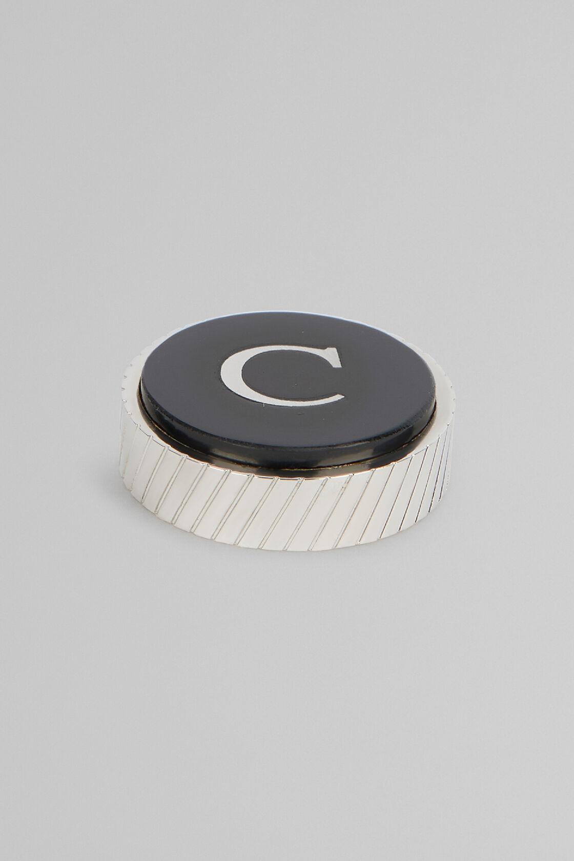 Metal Letter C Cufflinks, Black, hi-res