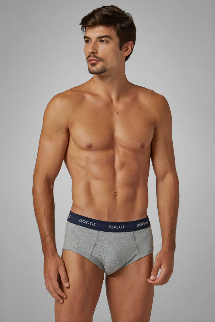 Grey Stretch Cotton Briefs, Grey, hi-res