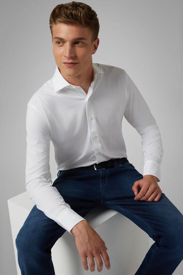Chemise Polo Blanche À Col Fermé Coupe Ajustée, blanc, hi-res