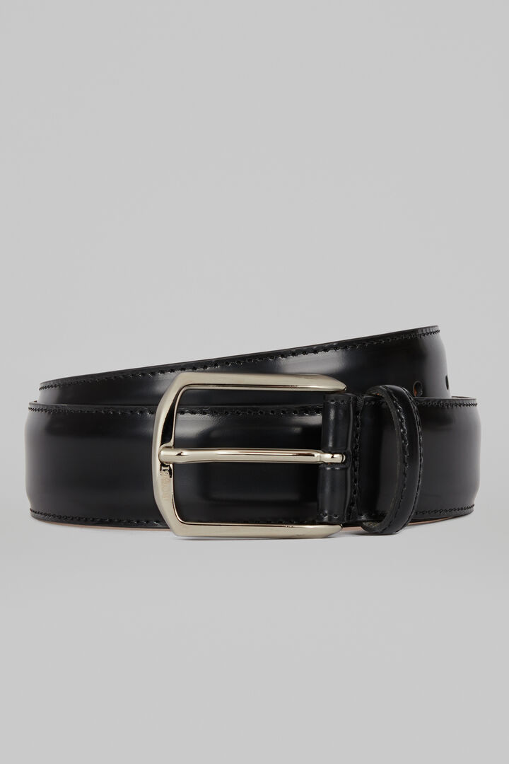Cintura Classica In Pelle Con Impunture, Nero, hi-res