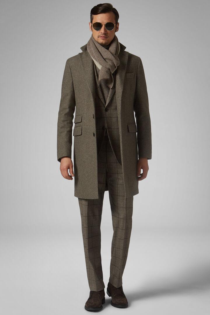 Diagonal Wool Coat, TAUPE, hi-res