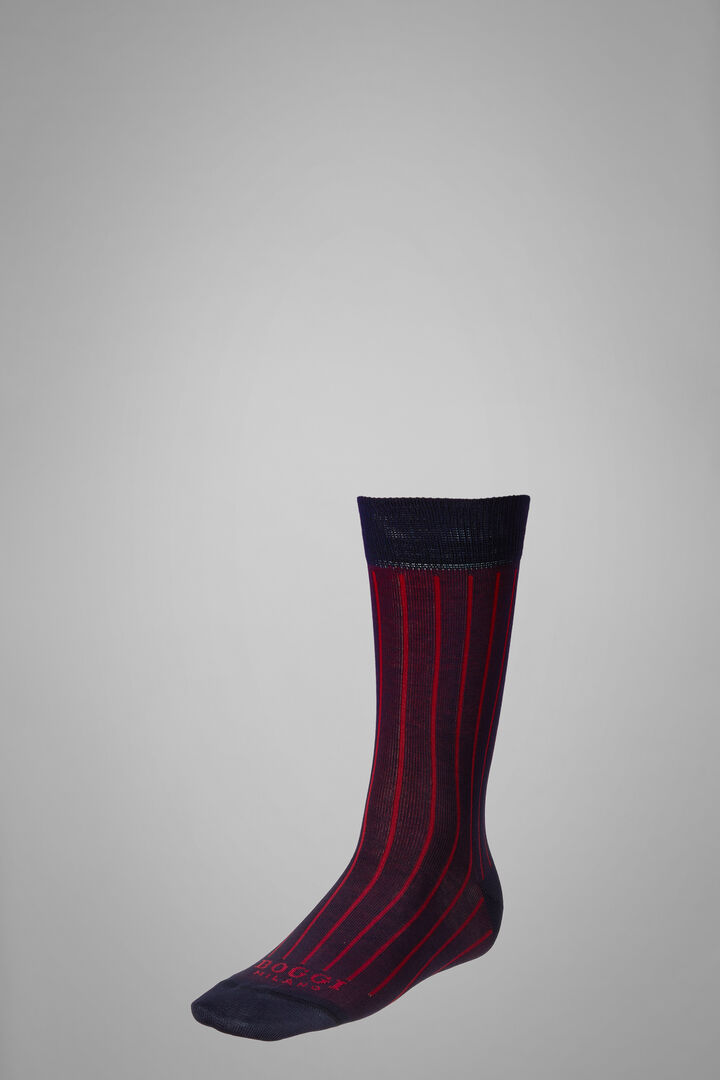 Short Socks With Contrasting Cuff, Navy - Burgundy, hi-res