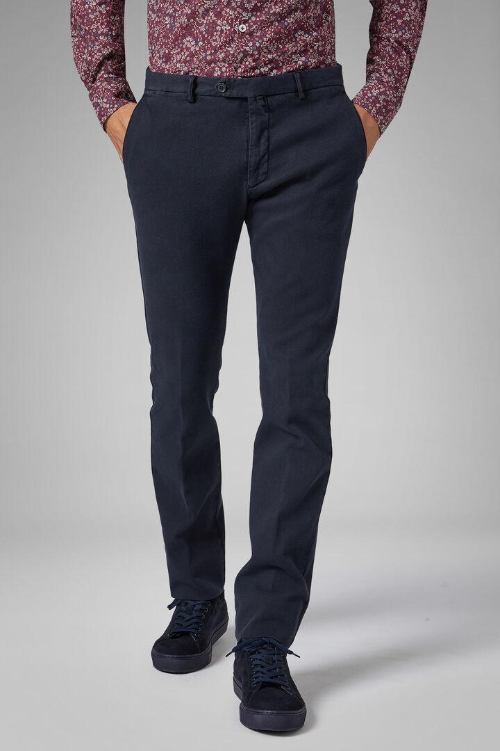 Slim Fit Cotton/Tencel Structured Trousers, Navy blue, hi-res
