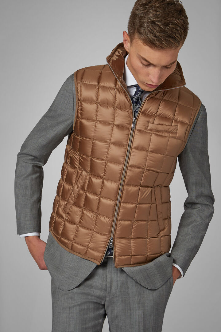 Square Quilted Nylon Gilet, Camel, hi-res