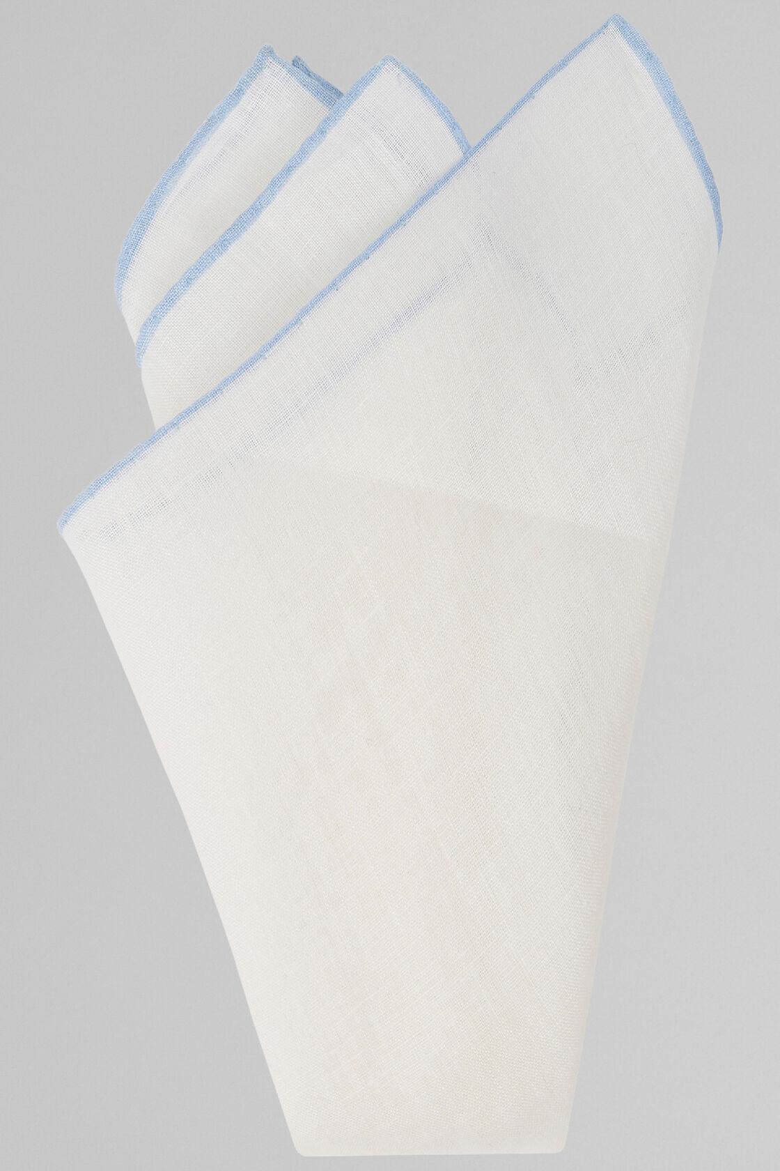 Pochette Bianca Con Bordino Azzurro In Puro Lino, Bianco - Azzurro, hi-res