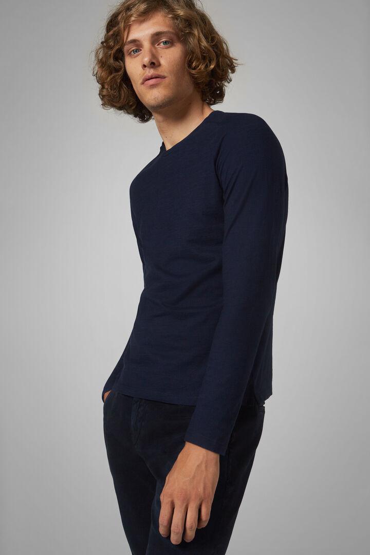 Navy Cotton Jersey T-Shirt, Navy blue, hi-res