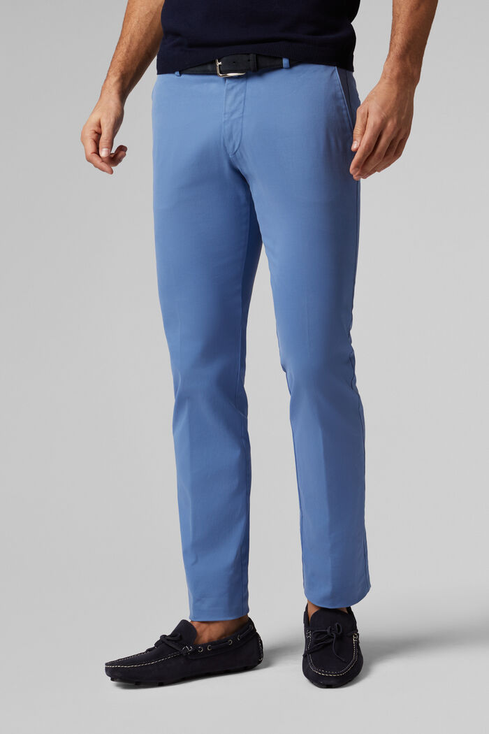 SLIM FIT STRETCH COTTON TRICOTINE TROUSERS, , hi-res