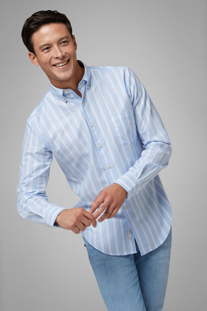 Regular Fit Sky Blue Striped Shirt With Button Down Collar, Light blue, hi-res