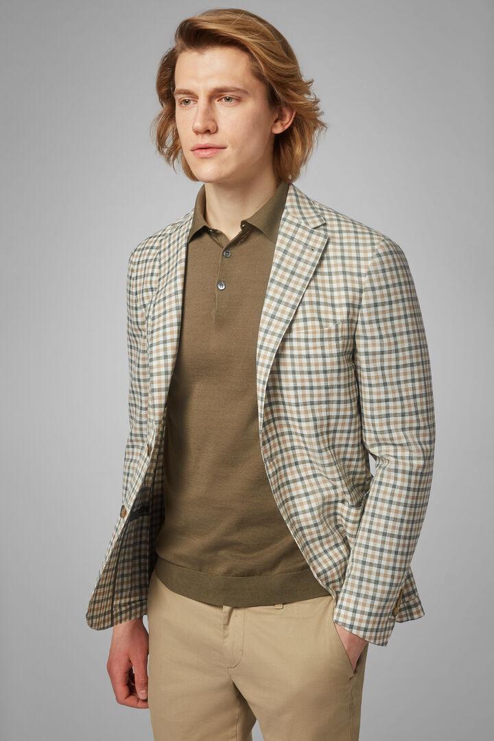 Beige-Green Wool & Linen Blend Aria Blazer, Beige - Green, hi-res