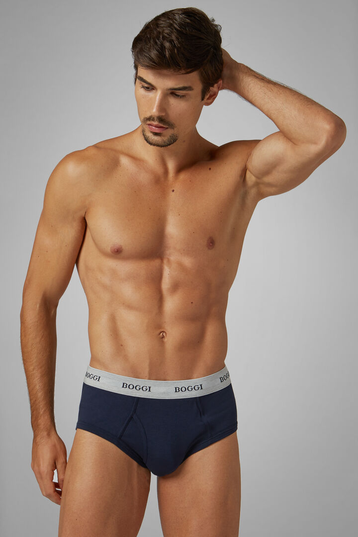 Navy Blue Stretch Cotton Briefs, Navy blue, hi-res