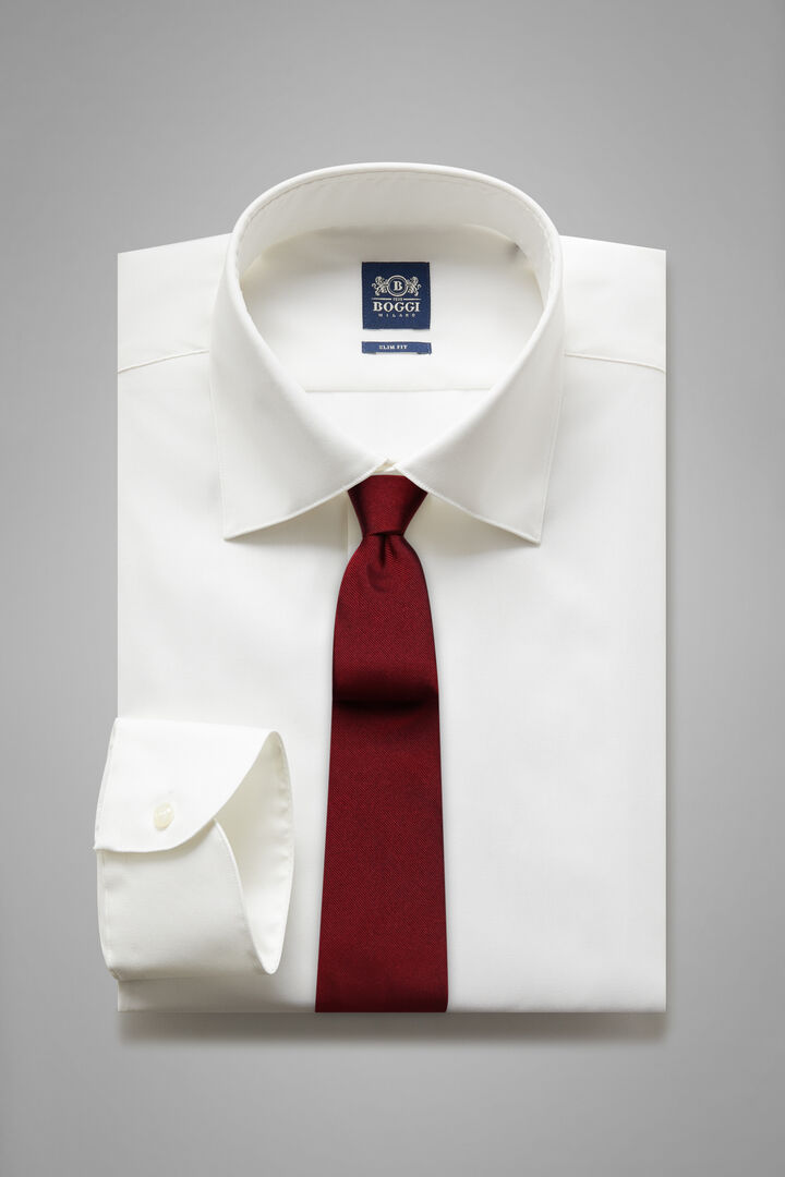 Slim Fit White Shirt With New York Collar, White, hi-res