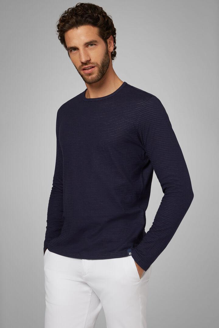 Navy Blue Cotton Jersey T-Shirt, Navy blue, hi-res