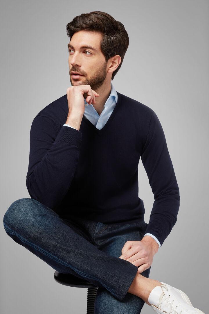 Pullover Mit V-Ausschnitt Aus Pima-Baumwolle, Navy blau, hi-res